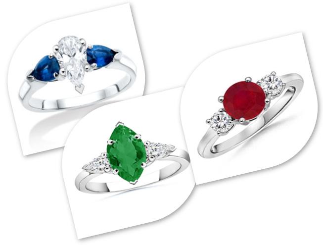 3 Stone Diamond Rings with Birthstones