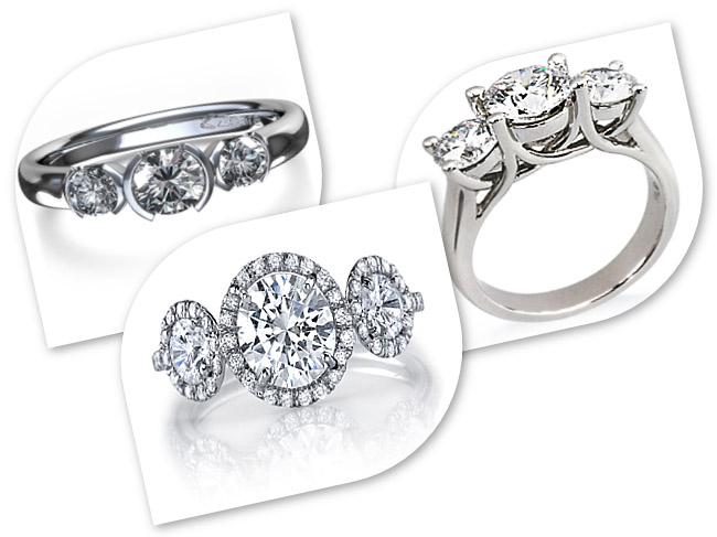 3 Stone Diamond Ring Settings