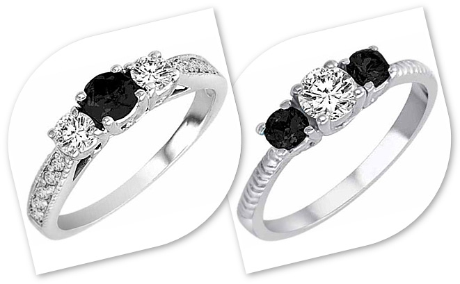 3 Stone Diamond Rings with black and white diamonds