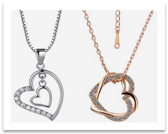 Heart Pendant Necklaces with small prong set diamonds