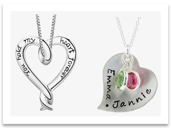 Engraved Heart Pendant Necklaces