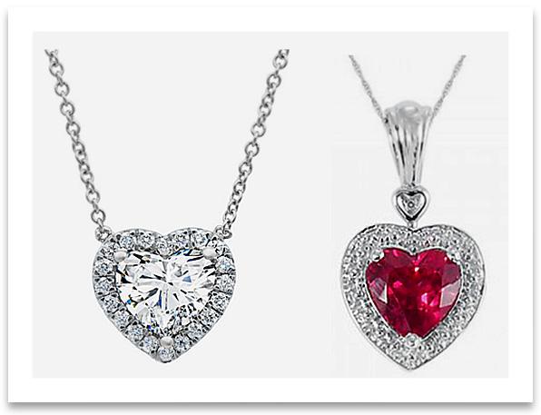Solitaire Heart Pendant Necklaces