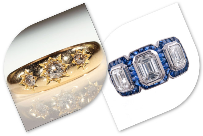 3 Stone Diamond Rings from Victorian and Art Deco era