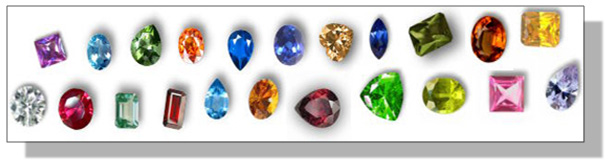 Different colors of Cubic Zirconia
