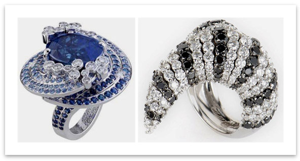 Abstract Design Diamond Rings from Van Cleef & Arpels and Crivelli