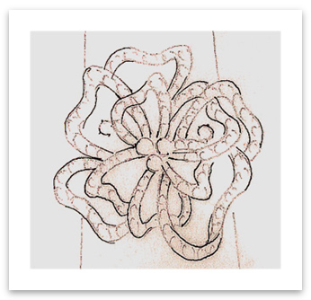 Sketch of flower-inspired abstract design diamond ring