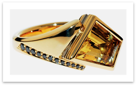 Abstract Yellow Beryl Black Diamond Ring