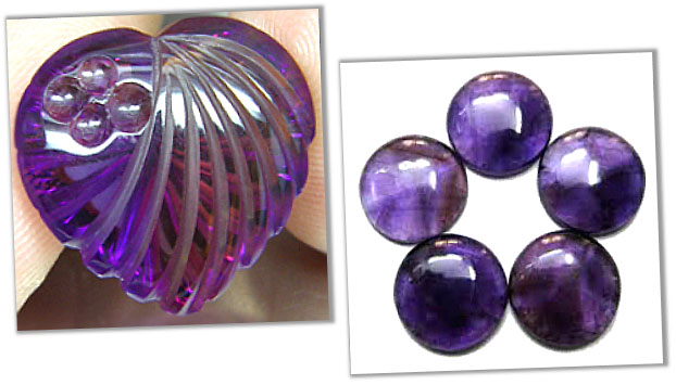 Carved and Cabochon amethyst