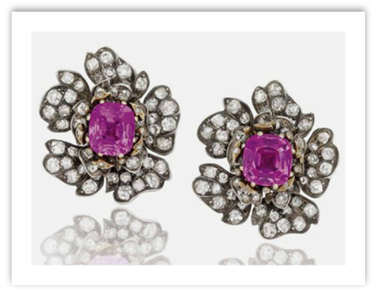 Antique Ruby Diamond Earrings