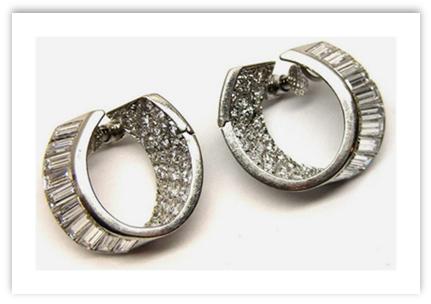 Antique Hoop Diamond Earrings