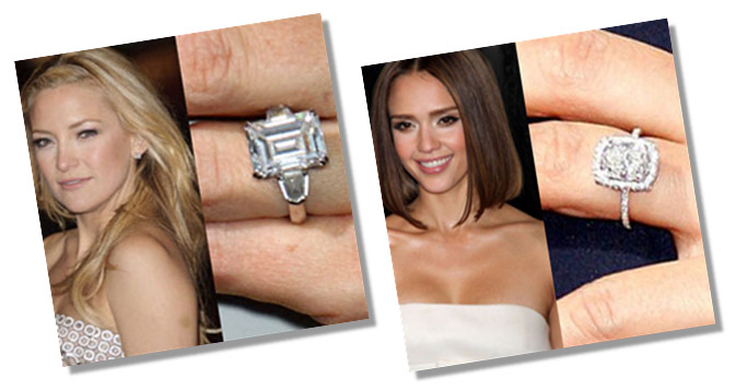 Kate Hudson and Jessica Alba with Asscher Cut Diamond Rings