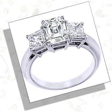 3 stone Asscher Cut Engagement Ring