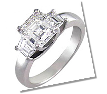 Asscher Diamond 3 stone setting