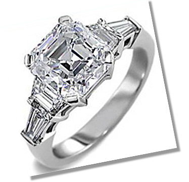 Asscher Diamond 4 prong setting