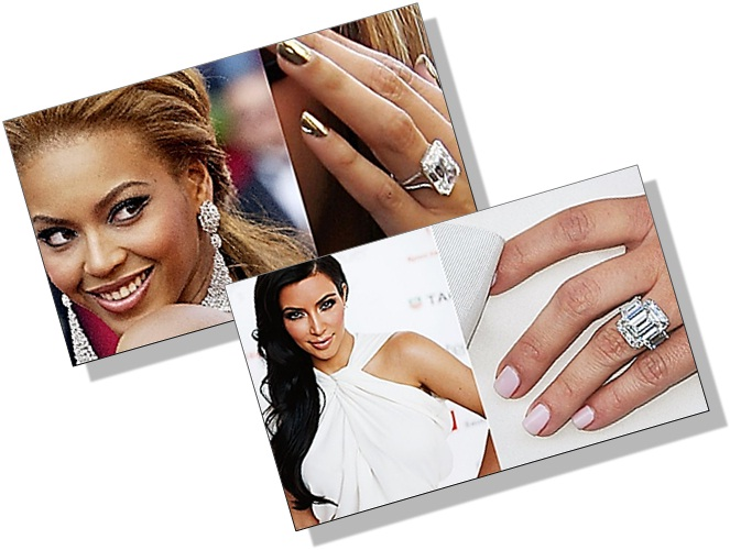 also it has always been the trend that a celebrity innovates a shape and exclusivity of that diamond shape catches our attention - Beyonce Wedding Ring