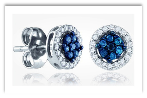 Blue Diamond Cluster Stud Earrings