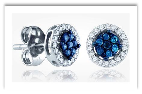 Blue Diamond Cluster Stud Earrings