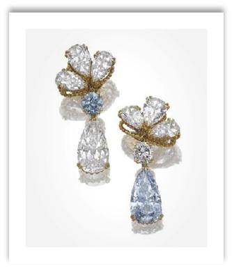 Blue Diamond Drop Earrings