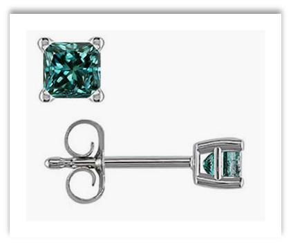 Blue Diamond Princess Cut Stud Earrings