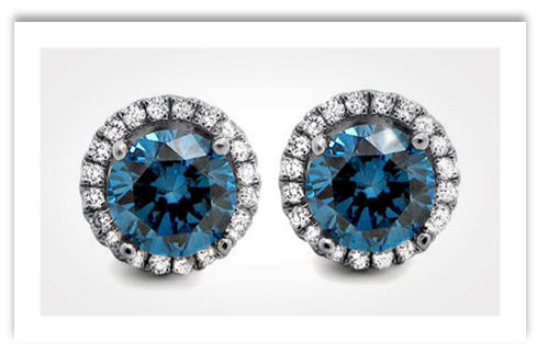 Blue Diamond Round Stud Earrings