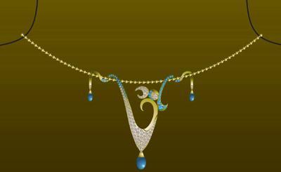 Om Diamond Necklace