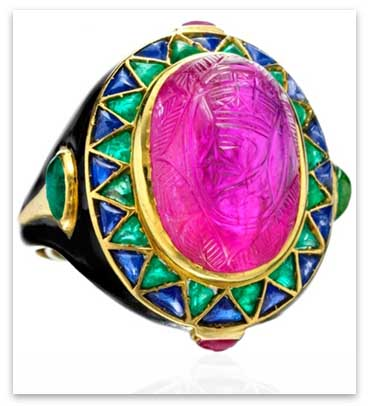 Cartier Engagement Ring with bold colored stones