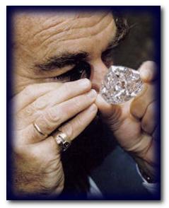 Gobi Tolkowsky examining Centenary Diamond