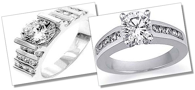 Channel Set Solitaire and Sidestone rings