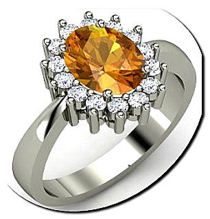Citrine diamond engagement ring