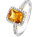 Square Citrine Ring