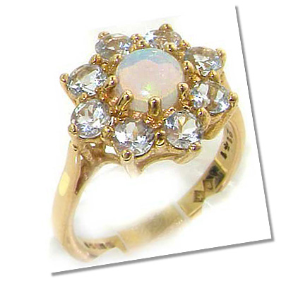 Antique opal aquamarine Cluster setting engagement ring