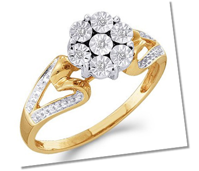 Cluster setting engagement ring with split shank