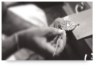 Craftsman making jewelry