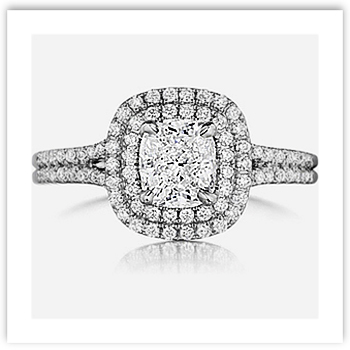 Cushion Cut Engagement Ring with Double Band