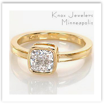 Cushion Cut Engagement Ring with gold band