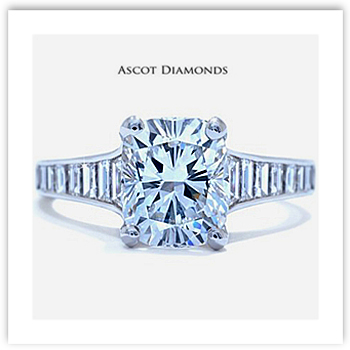 Cushion Cut Engagement Ring with tapered baguettes