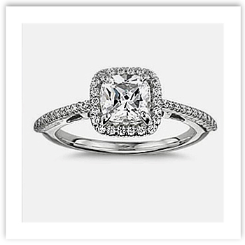 Cushion Cut Engagement Ring with thin band
