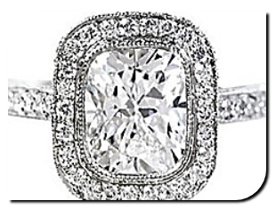 Cushion Diamond Pave Setting