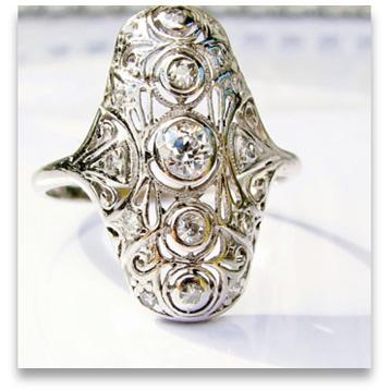 Art Deco style designer platinum engagement ring