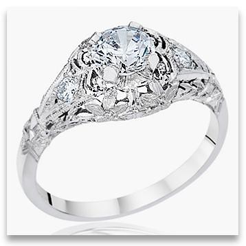Vintage Designer Platinum Engagement Ring