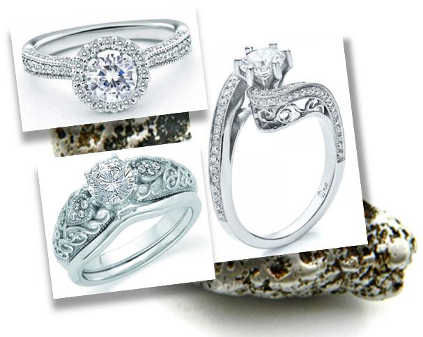Designer Platinum Engagement Rings with detailed design work