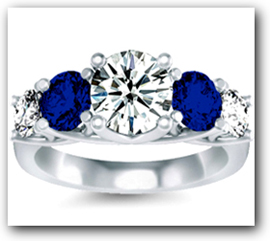 Diamond and Sapphire Engagement Ring in Prong Setting