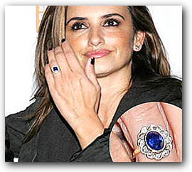 Diamond and Sapphire Engagement Ring of Penelope Cruz