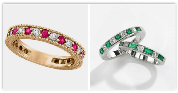 Diamond Anniversary Rings with colored stones