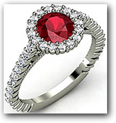 Prong Set Diamond Ruby Engagement Ring