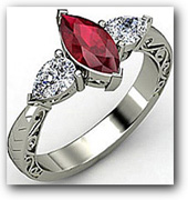 3 Stone Ruby Engagement Ring