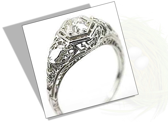 Edwardian Engagement Ring with Bird Motif