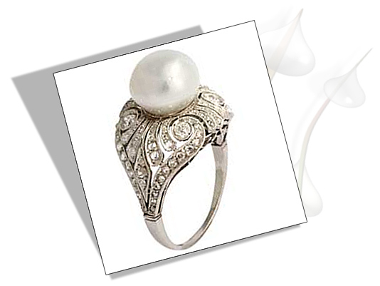 Edwardian Engagement Ring with diamond and pearl