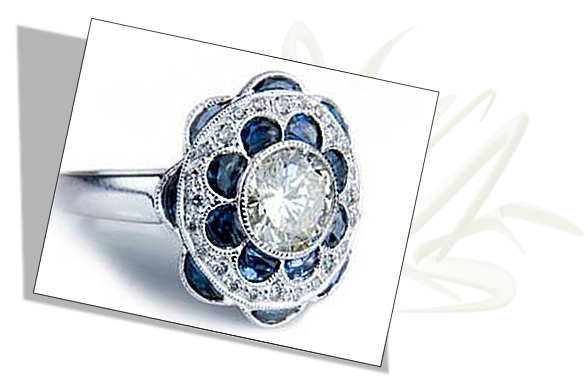 Edwardian Engagement Ring with Diamond and Sapphire Scrollwork