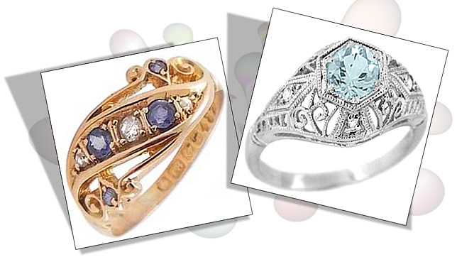 Sapphire and Aquamarine Edwardian Engagement Rings